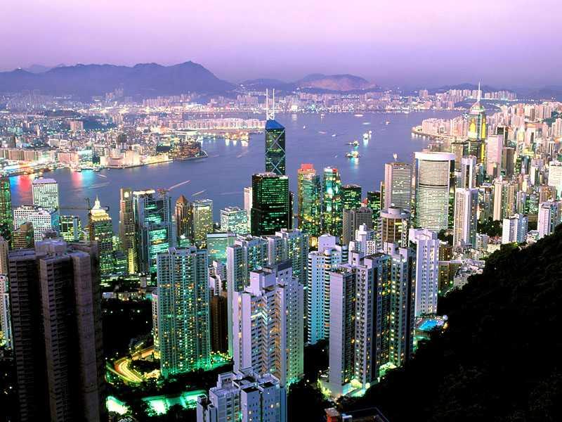 Citylights Shining at Dawn Hong Kong China